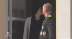 Le prince Albert II de Monaco et sa femme Charlène lors de la fête nationale monégasque, le 19 novembre 2014.