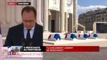 """Panthéon : les quatre personnalités """"incarnent l'esprit de la Résistance"""", déclare Hollande"""