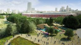 Vue d'artiste : le stade olympique et ses alentours après les Jeux