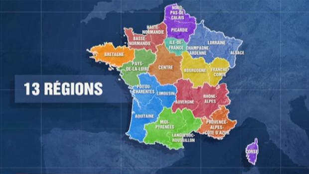 La carte des 13 régions issues de la réforme territoriale