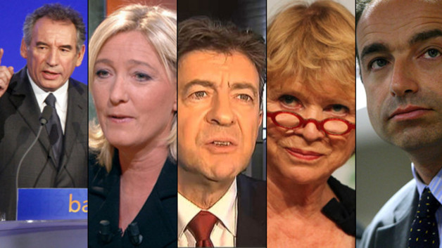 Montage photo (de gauche  droite) : Franois Bayrou, Marine Le Pen, Jean-Luc Mlenchon, Eva Joly et Jean-Franois Cop