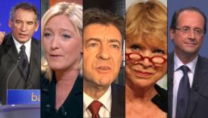 Montage photo (de gauche à droite) : François Bayrou, Marine Le Pen, Jean-Luc Mélenchon, Eva Joly et François Hollande