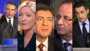 Montage photo (de gauche à droite) : François Bayrou, Marine Le Pen, Jean-Luc Mélenchon, François Hollande et Nicolas Sarkozy