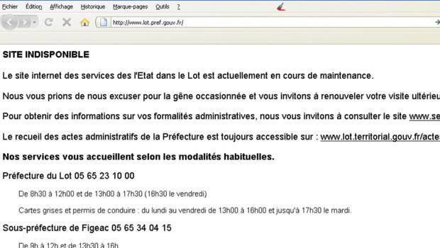 Site internet de la préfecture du Lot, rendu indisponible par une attaque informatique (30 août 2011)
