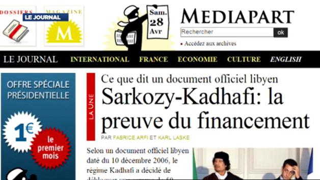 Le site d'information Mediapart a publié, samedi, un document affirmant que le régime Kadhafi a accepté de financer la campagne de Sarkozy en 2007.