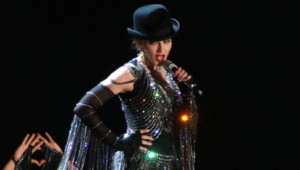 Madonna sur la scène du Madison Square Garden à New York le 16 septembre 2015