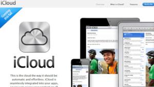 Capture d'écran du site de la page présentant iCloud sur le site d'Apple