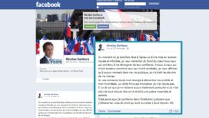 Page Facebook de Sarkozy