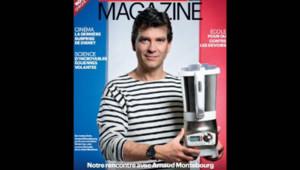 Arnaud Montebourg, pose en une du magazine du Parisien vêtu d'une marinière fabriquée en France.