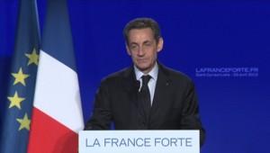 Nicolas Sarkozy en meeting à Saint-Cyr sur Loire, le 23 avril 2012.
