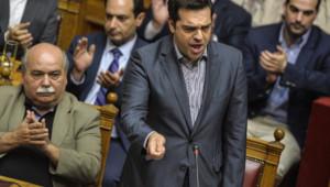 Grèce : Alexis Tsipras devant le Parlement, nuit du 10 au 11 juillet 2015