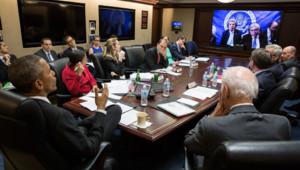 Barack Obama et son équipe en visio-conférence avec John Kerry, 31/3/15