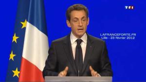 Meeting de Nicolas Sarkozy à Lille, le 23 février 2012.
