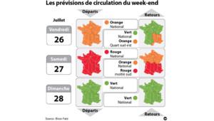 Les prévisions de trafic pour le week-end du 26 juillet 2013 : la carte