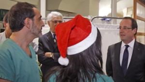 François Hollande, à l'hôpital Labroisière de Paris, le soir du 31 décembre 2012.