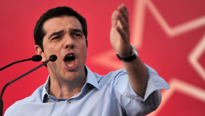 Alexis Tsipras en meeting à Athènes le 17 juin 2013