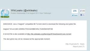 Le fichier encrypté diffusé par WikiLeaks.