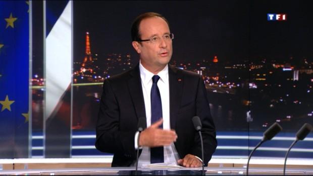 François Hollande lors de son interview sur TF1 le 9 septembre 2012.