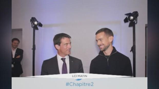 Le Gif de Manuel Valls avec Jack Dorsey, le créateur de Twitter