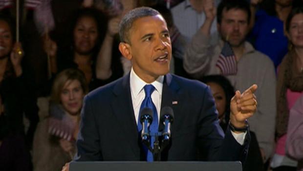 Barack Obama s'exprime lors de son discours de victoire à l'élection américaine, le 7/11/12, à Chicago