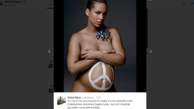 Capture d'écran du compte Twitter d'Alicia Keys