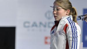Céline Goberville, championne de tir, lors d'une compétition européenne en février 2012