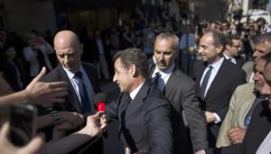 Nicolas Sarkozy, devant le siège de l'UMP le 8 juillet 2013.