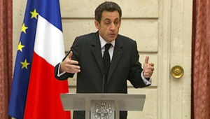 Nicolas Sarkozy lors de ses voeux aux partenaires sociaux (19 janvier 2009)