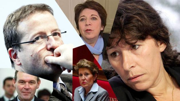 De gauche à droite : Jean-Jacques Aillagon, Martin Hirsch, Brigitte Girardin (bas), Corinne Lepage (haut), Fadela Amara, Azouz Begag (montage photo)