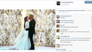 Le désormais célèbre cliché du mariage de Kim Kardashian et Kanye West posté le 27 mai 2014 sur Instagram par Kim a récolé près de 2 millions de Likes.
