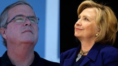 Photomontage : Jeb Bush/Hillary Clinton