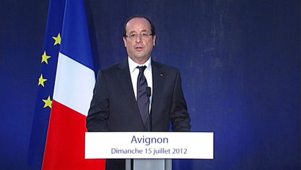 Franois Hollande  Avignon (Vaucluse) le 15 juillet 2012.