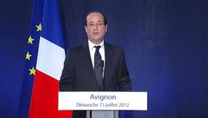 François Hollande à Avignon (Vaucluse) le 15 juillet 2012.