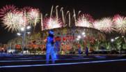 Le nid d'oiseau, le stade olympique de Pékin, lors des répétitions de la cérémonie d'ouverture