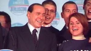 Silvio Berlusconi fêtant sa victoire aux élections italiennes (14 avril 2008)