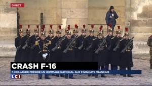 Crash du F-16 : hommage national aux militaires français aux Invalides
