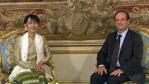 Aung San Suu Kyi et François Hollande à l'Elysée