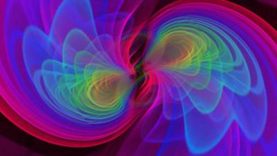 Vue d'artiste de deux trous noirs qui en fusionnant émettent des ondes gravitationnelles.