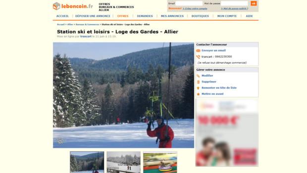 L'annonce sur le boncoin.fr de la vente de la petite station de ski de la Loge des Gardes à Laprugne, dans l'Allier