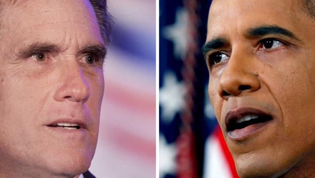 Photomontage : Mitt Romney (g.) et Barack Obama (d.)