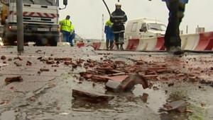 TF1/LCI La tempête provoque des dégats à La Hague (18 janvier 2007)