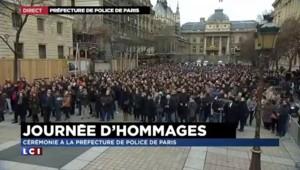 Hommage aux policiers tués : grosse mobilisation devant la préfecture de police