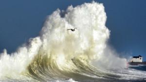 Une énorme vague au large de Plobannalec-Lesconil dans le Finistère le 08/02/16