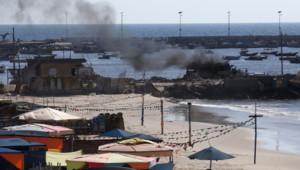 Gaza : plage où quatre enfants ont été tués par un obus israélien, 16/7/14
