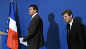 Manuel Valls et Arnaud Montebourg lors d'une conférence de presse 12/05/2014