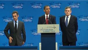 Obama, brown et Sarkozy au G20 de Pittsburgh le 25 septembre 2009