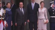 François Hollande et Ségolène Royal accompagnent le roi et la reine d'Espagne le 2 juin 2015.