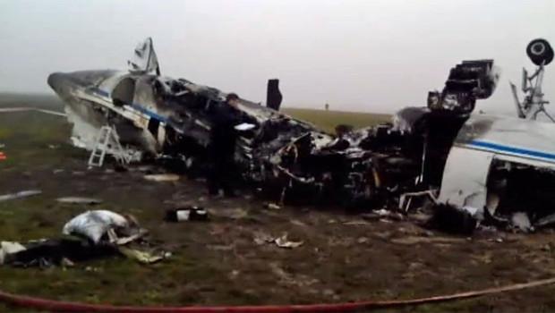 La carcasse de l'avion de Christophe de Margerie au lendemain du crash à Moscou (le 21 octobre 2014)