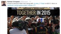 Tweet de Romain Grosjean annonçant par erreur son prolongement chez Lotus F1 Team pour 2015