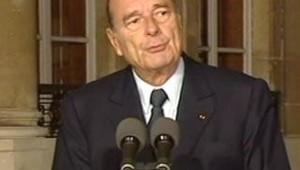 Jacques Chirac s'exprime depuis l'Elysée...